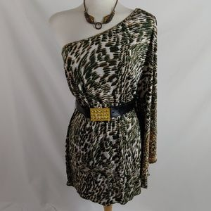 Baby phat modified camo print 1 shoulder dress